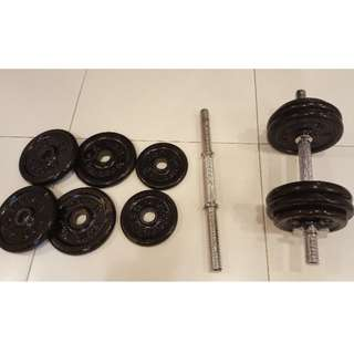Free weight dumbbells. 12kg per set.