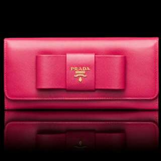 PRADA Saffiano Fiocco Peonia (95% New) WITH BOX AND AUTHENTICITY CERTIFICATE CARD