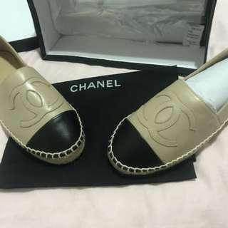 Chanel Espedrilles Flats cream leather size 7 EU 38