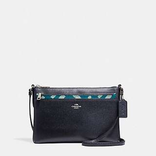 Coach East/ West Crossbody with Pop Up Pouch with Wild Plaid Print