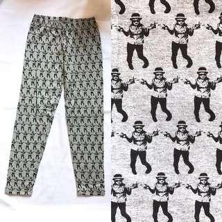 🇯🇵日牌 Grey Printed legging 搞鬼人仔圖案打底長褲
