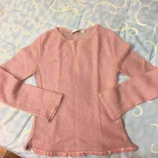 粉紅 毛海 針織上衣