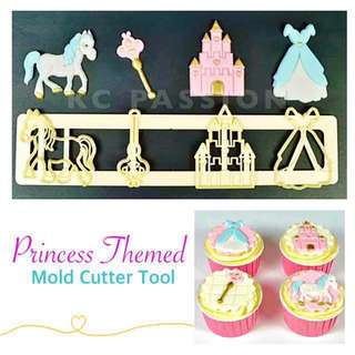 👸🏼 PRINCESS THEMED MOLD CUTTER TOOL [ Pony • Wand • Castle • Gown Dress ] Cake Decorating Tool for Cookies • Fondant Cake & Cupcake • Bread Dough • Pastry • Sugar Craft • Jelly • Gum Paste • Polymer Clay Art Craft •