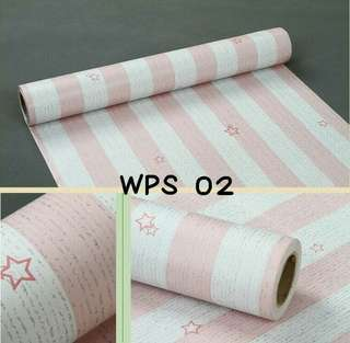 Wallpaper Dinding Uk. 10m Motif White Pink List and Stars