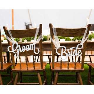 Wedding decoration - Bride & Groom chair sign