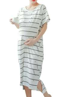 TINY BLACK STRIPES DESIGN SHORT SLEEVES MATERNITY + NURSING DRESS - WHITE