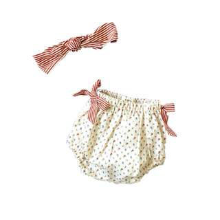 Red Bloom Headband and Shorts Set