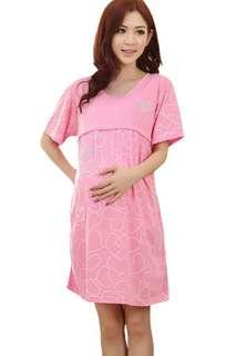 LOVE DESIGN SHORT SLEEVES MATERNITY + NURSING DRESS - PINK