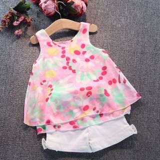 Baby Girl Chiffon Top +Short Set