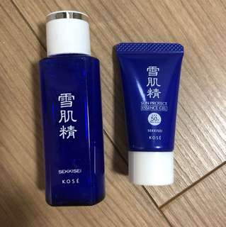 Kose Sekkisei Lotion, sun protect essence gel