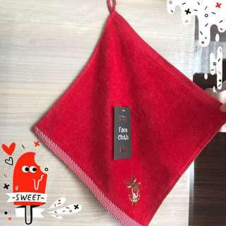 Red Raindeer Face Cloth / Handuk Kecil / Handuk Tangan Primark
