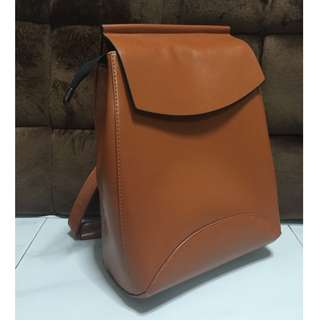 Brand-new , camel brown faux leather backpack, from Korea