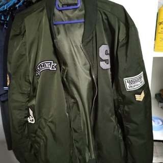 Seed navy green patched bomber jacket