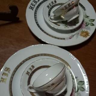 couple plate, cup & saucer