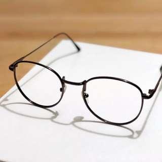 韓款圓形金屬眼鏡深啡色