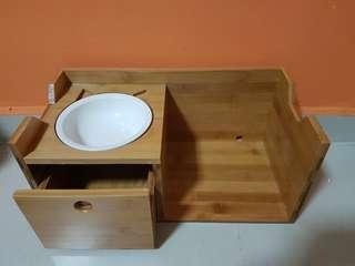 Wooden pet food bowl stand + drawer set