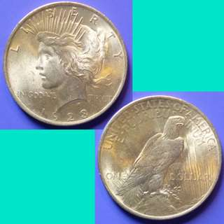 Coin US USA United States of America Peace Dollar 1923 P Silver Content 0.7734 oz