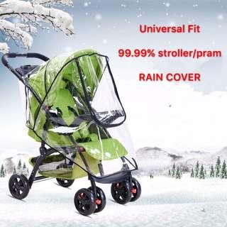 🌈(Ready Stock)💯🆕Brand New Baby Stroller / Pram Rain Cover with Double Zipper Head
