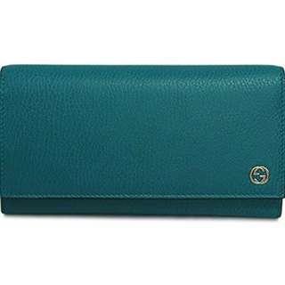 Gucci Women's Long Wallet (Teal Colour) Authentic