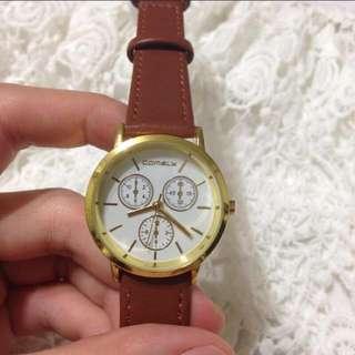 韓國錶 假三眼 Comely 咖啡色百搭款 手錶