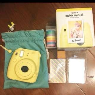 Mini8 fujifilm instax 拍立得 黃色 附袋子
