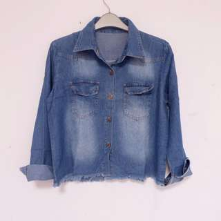Fringe Jeans Shirt Dark Blue