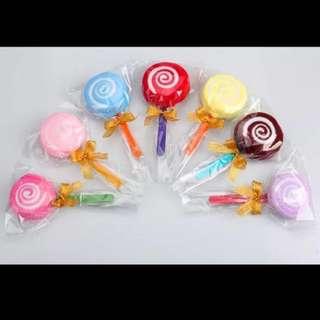 In stocks- Door Gift Favors Colourful Candy Lollipop Towel