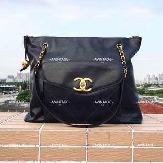 Chanel Vintage 黑色荔枝皮奶粉袋