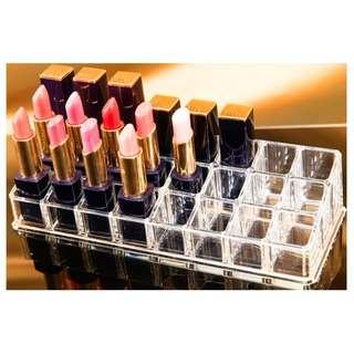 24 Lipstick Holder Display Stand Clear Acrylic Cosmetic Organizer Makeup Case Storage Organizer Make Up