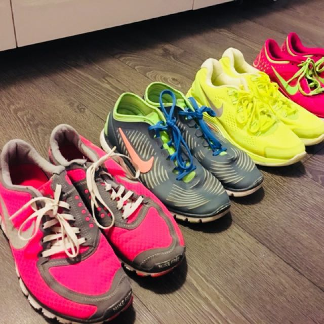 4 pairs of women's Nike Free and Nike Lunarlon Running Shoes size 8.5