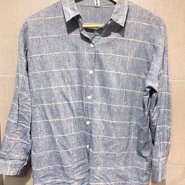 文青深藍色格紋襯衫