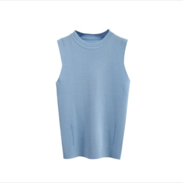全新水藍針織背心