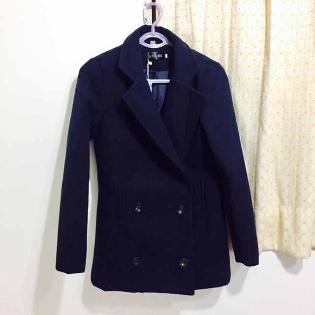 韓版雙排釦羊毛絨西裝外套大衣 深藍