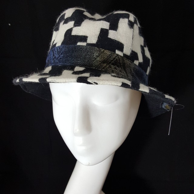 特價~手作帽 大千鳥格毛呢四片頂紳士帽 小頭圍56