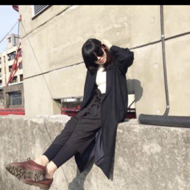 長版 個性 大衣 黑色 大衣 保暖 不會刺刺 舒服 羊毛 肩寬平量40