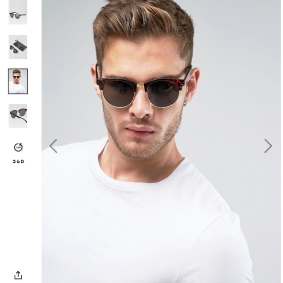 全新 現貨 英國ASOS 經典 玳瑁 余文樂 半框 太陽眼鏡 中性可 雷朋款式 男女適用 真正防UV 現貨
