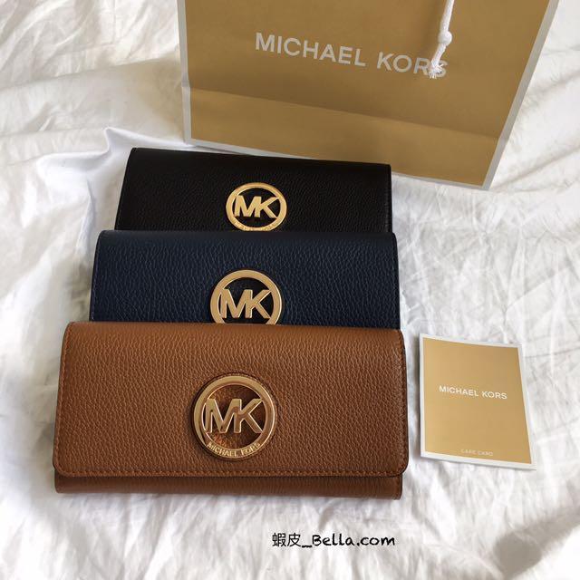 美國代購🇺🇸 現貨 Michael Kors MK logo 黑色 卡其色 深藍色 女生 長夾 皮夾 零錢袋長夾 錢包