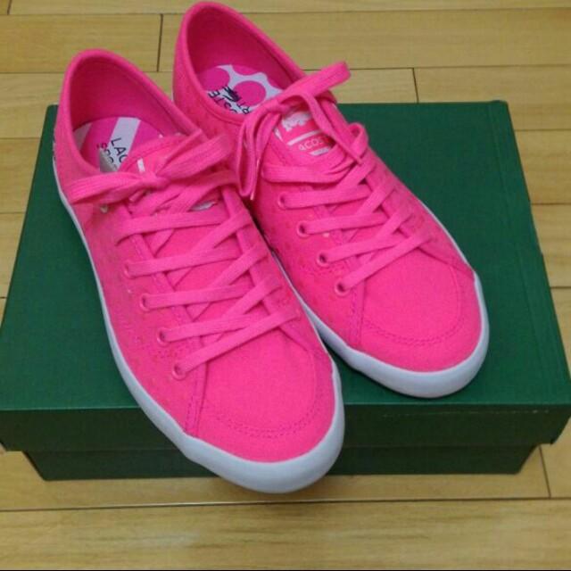 全新 Lacoste 鱷魚牌 粉紅帆布鞋 休閒鞋🐊🐊🐊
