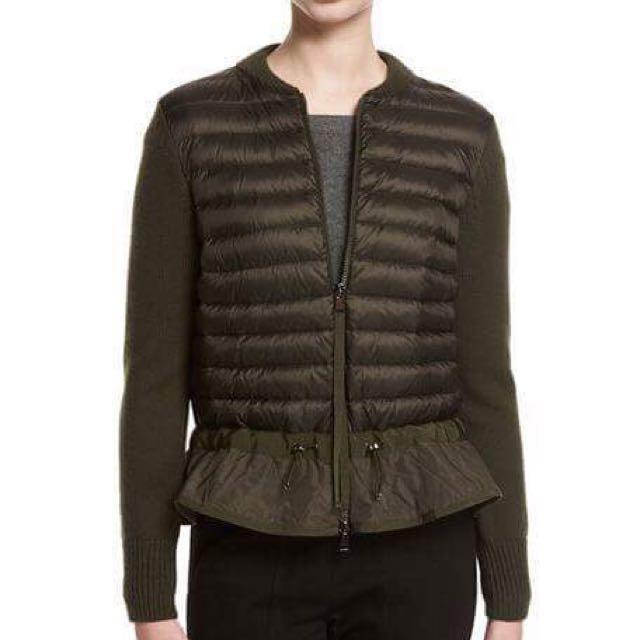 🎩 Moncler 軍綠色 針織 羽絨 拼接外套 🎩