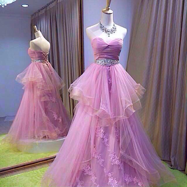 👭 Pink Princess Floral Beads Ball Gown (RENTAL)