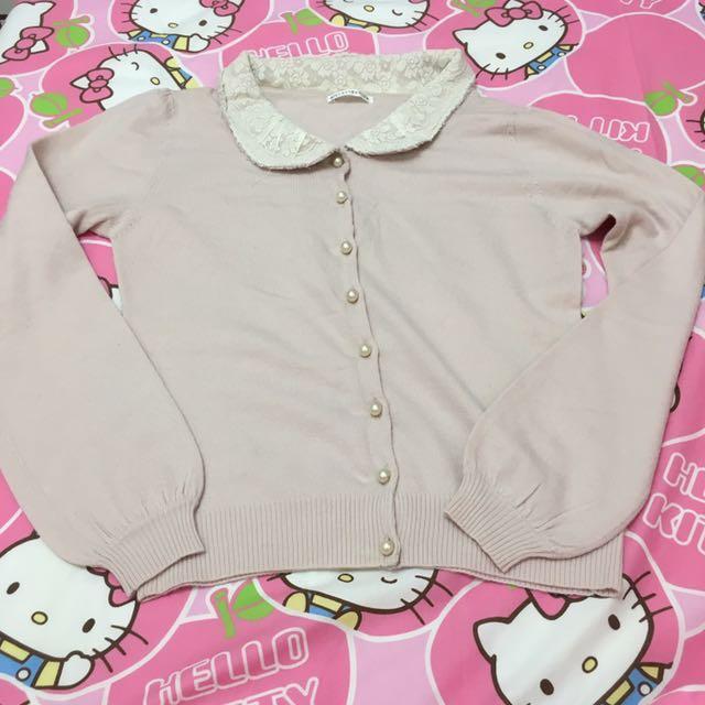 日本品牌 Willselection 總蕾絲嬰兒粉珍珠釦上衣