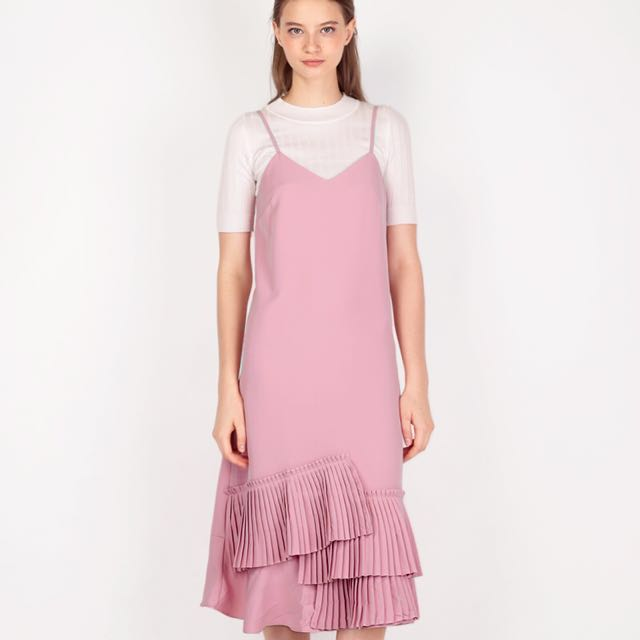 AFA ISSEY PLEATED SLIP DRESS IN PINK