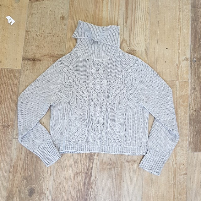 All about eve cropped grey knit jumper