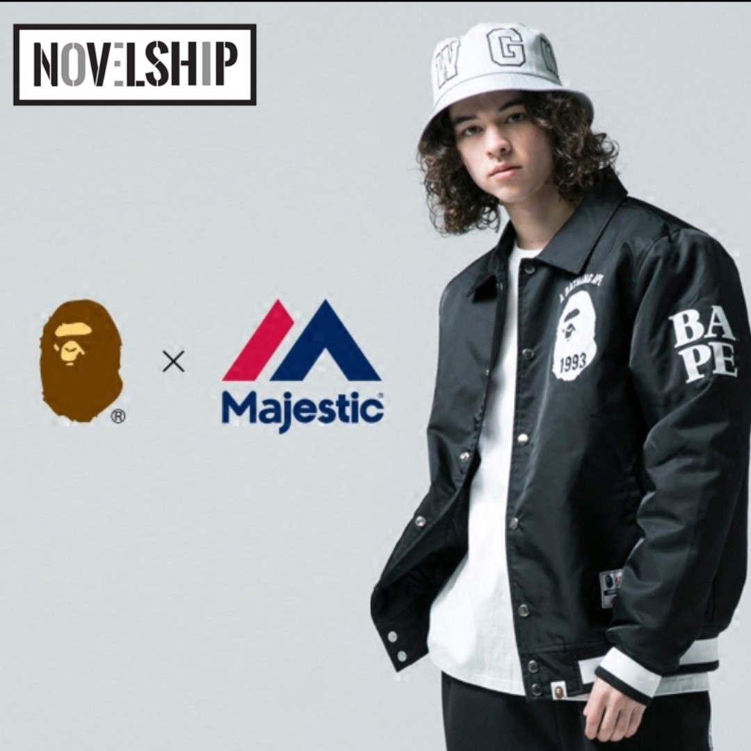 c4786911 BAPE X MAJESTIC SATIN VARSITY JACKET, Men's Fashion, Clothes on Carousell