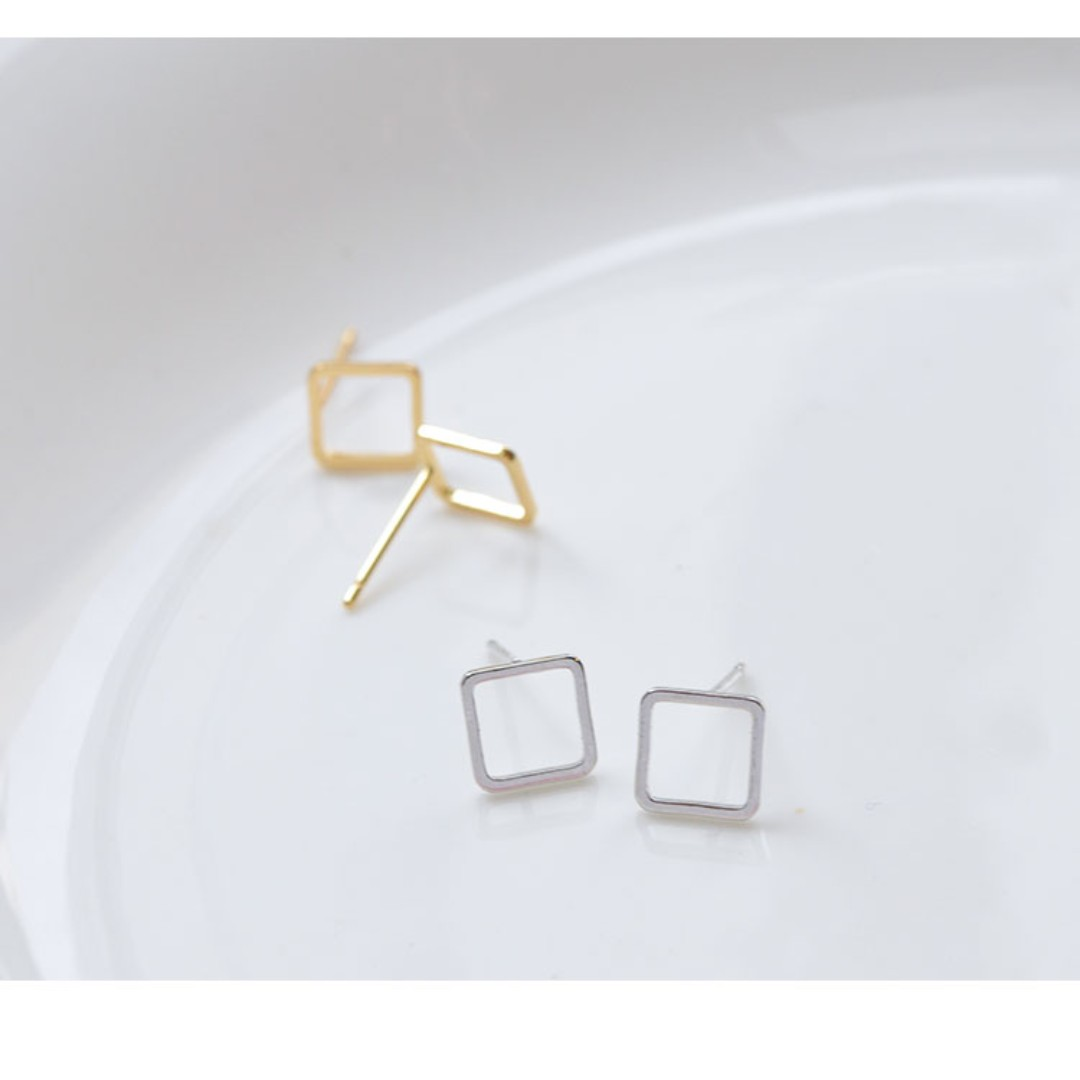 shaped hoop earrings dc product plain square gold white