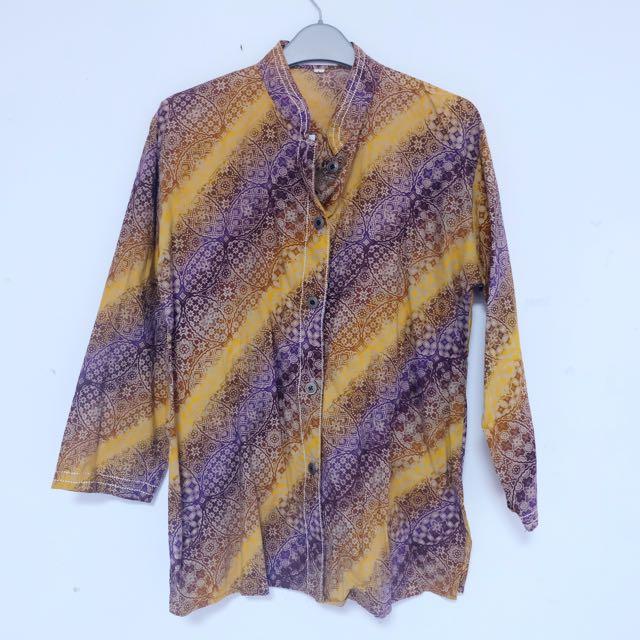 Batik Top in Purple and Gold