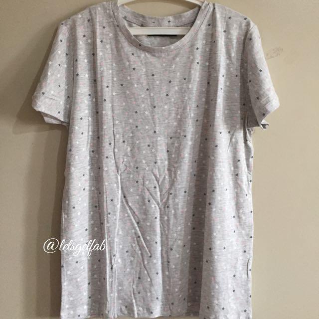 🌸Bershka Gray little star Printed Overrun tees t shirt