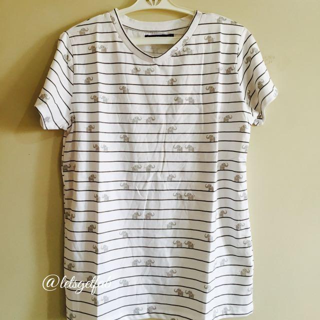 🌸Bershka White Gray Stripe Small Elephant Printed Overrun tees t shirt
