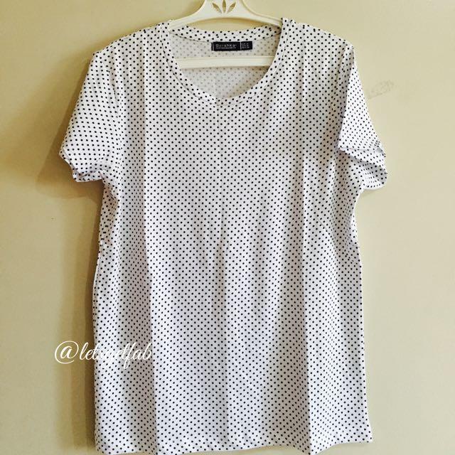 🌸Bershka White Super Small Black Dots Printed Overrun tees t shirt