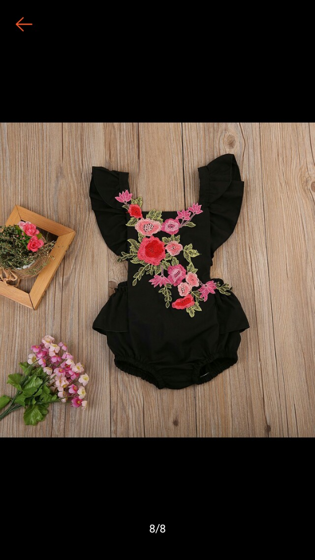 Black Embroidered Baby Romper